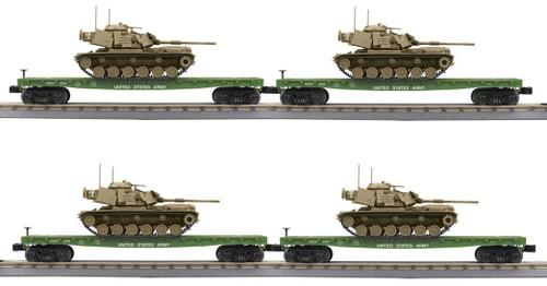 MTH RailKing O 30-70121 4-Car Flat Car with M60 Tank Set, U.S. Army