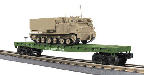 MTH RailKing O 30-76845 Flat Car with M270 Rocket Launcher Vehicle, U.S. Army #8420