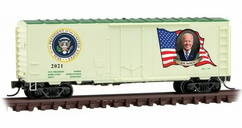Micro-Trains N 07400146 40' Standard Box Car with Plug Door and No Roofwalk, Joe Biden Presidential Car #2021