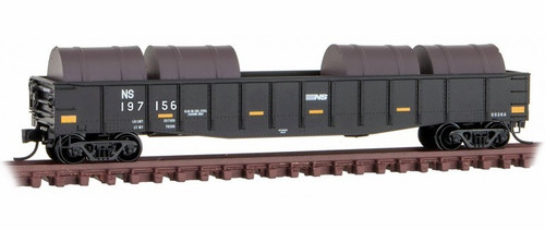 Micro-Trains N 10500362 50' Steel Side, 14-Panel, Fixed End Gondola with Fishbelly Sides and Coil Load, Norfolk Southern #197156