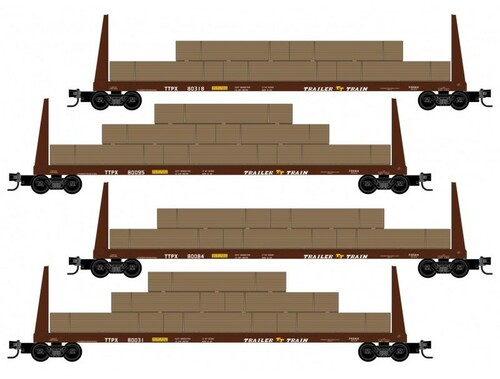 Micro-Trains N 99300178 61' Bulkhead Flat Car with Lumber Load, Trailer Train (4-Car Runner Pack)
