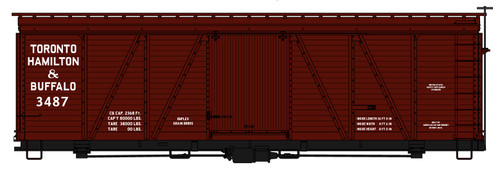 Accurail HO 1183 36' Fowler Wood Box Car Kit, Toronto Hamilton and Buffalo #3487