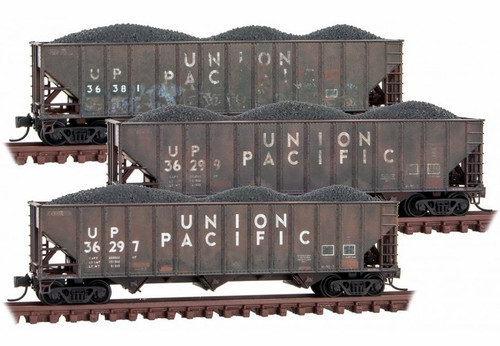Micro-Trains N 99305920 Weathered 100-Ton 3-Bay Open Hopper with Rib Sides and Coal Load, Union Pacific (3-Pack)
