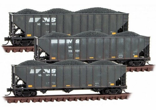 Micro-Trains N 99305930 Weathered 100-Ton 3-Bay Open Hopper with Rib Sides and Coal Load, Norfolk Southern (3-Pack)