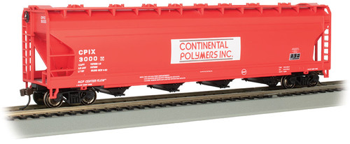 Bachmann HO 17510 ACF 56' 4-Bay Centerflow Covered Hopper, Continental Polymers #3000