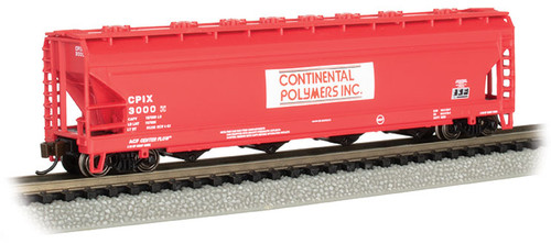 Bachmann N 17562 ACF 56' 4-Bay Centerflow Covered Hopper, Continental Polymers #3000