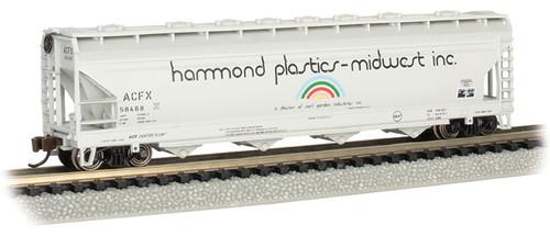 Bachmann N 17563 ACF 56' 4-Bay Centerflow Covered Hopper, Hammond Plastics #58468