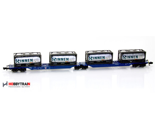Hobby Train N H23715 Wagon Container Car with Rinnen Tankcontainers, SGGNOS (DB) #715/714