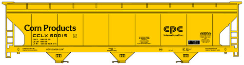 Accurail HO 81371 ACF 3-Bay Covered Hopper Kit, Corn Products #60015