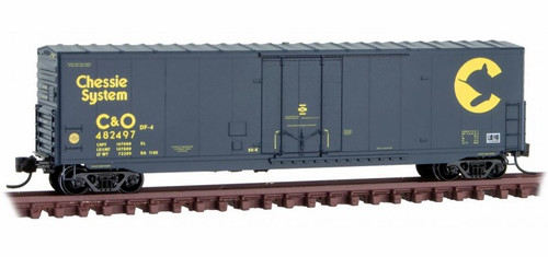 Micro-Trains N 18100190 50' Standard Box Car with 8' Plug Door, No Roofwalk, and Short Ladders, Chesapeake and Ohio #482497