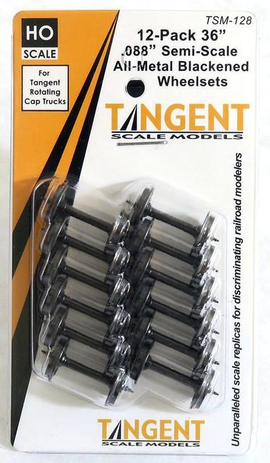 """Tangent Scale Models HO 128 36"""" Semi-Scale Blackened Wheelsets for Tangent Rotating Roller Bearing Trucks (12)"""
