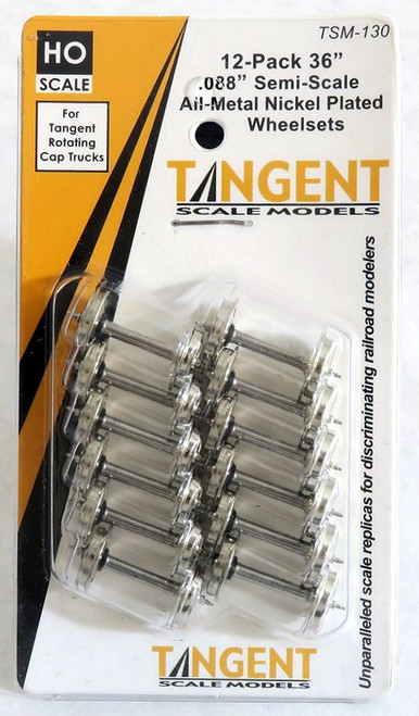 """Tangent Scale Models HO 130 36"""" Semi-Scale Nickel Plated Wheelsets for Tangent Rotating Roller Bearing Trucks (12)"""