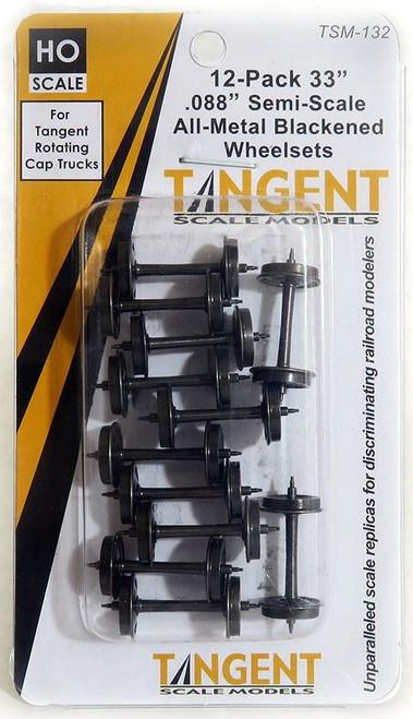 """Tangent Scale Models HO 132 33"""" Semi-Scale Blackened Wheelsets for Tangent Rotating Roller Bearing Trucks (12)"""