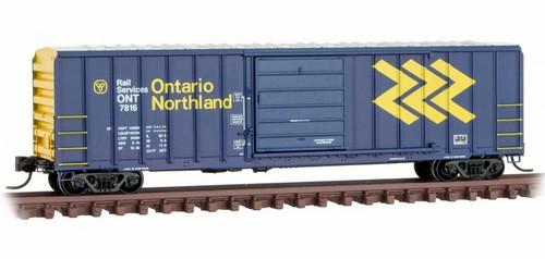 Micro-Trains N 02500206 50' Rib Side Box Car with Single Door and No Roofwalk, Ontario Northland #7816