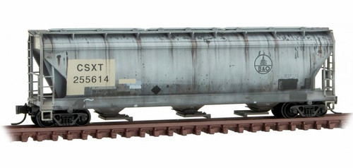 Micro-Trains N 09444720 Weathered 3-Bay Covered Hopper with Elongated Hatches, CSX (ex-B&O) #255614