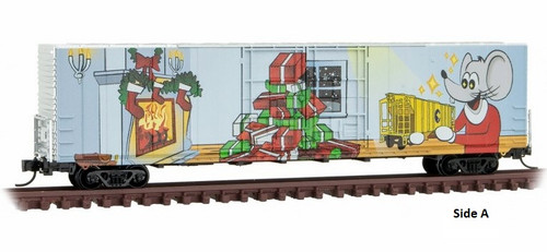 Micro-Trains N 10200170 60' Box Car with Excess Height, Double Plug Doors, and Rivet Side, Micro-Mouse (2021 Christmas Car)