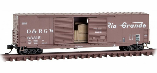 Micro-Trains N 18200161 50' Standard Box Car with 8' Double Sliding Door, Short Ladders, and No Roofwalk, Denver and Rio Grande Western #63315