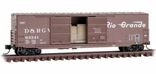 Micro-Trains N 18200162 50' Standard Box Car with 8' Double Sliding Door, Short Ladders, and No Roofwalk, Denver and Rio Grande Western #63341