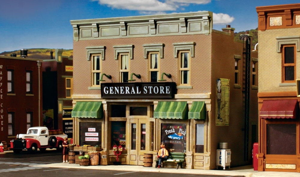 WOODLAND 5021 HO BUILT READY Lubener/'s General Store Railroad Building FREE SHIP