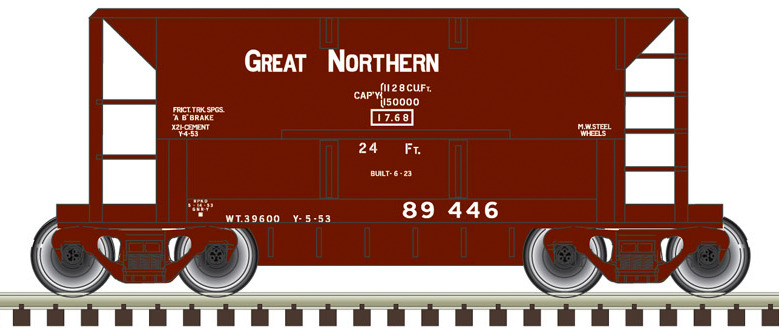N Scale Atlas 32104 GN Great Northern Blue 70 Ton Ore Car #95334 w// Load