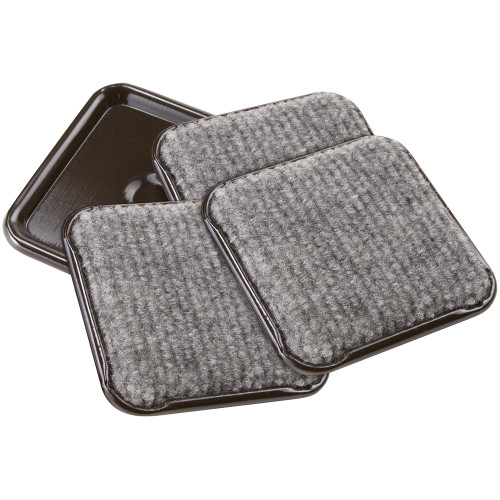 """2 1/2"""" Square Carpet Bottom Caster Cups, Brown/Gray"""