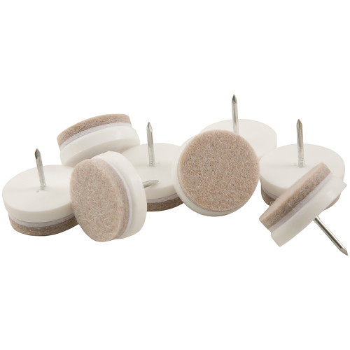 """1 1/8"""" Round Nail-On Furniture Glides, White (8 Pack)"""