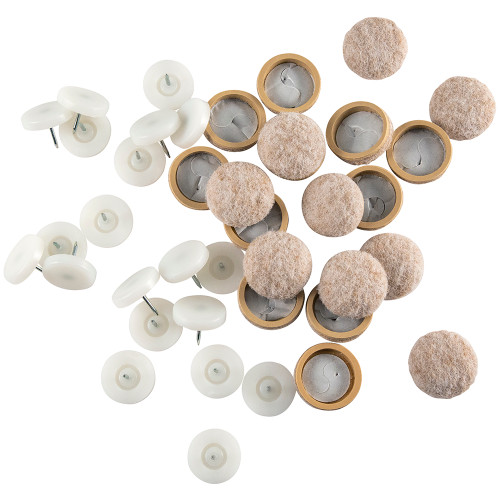 """1"""" Twin Shield Furniture Glides For Wood Furniture, White/Beige (20 Pack)"""