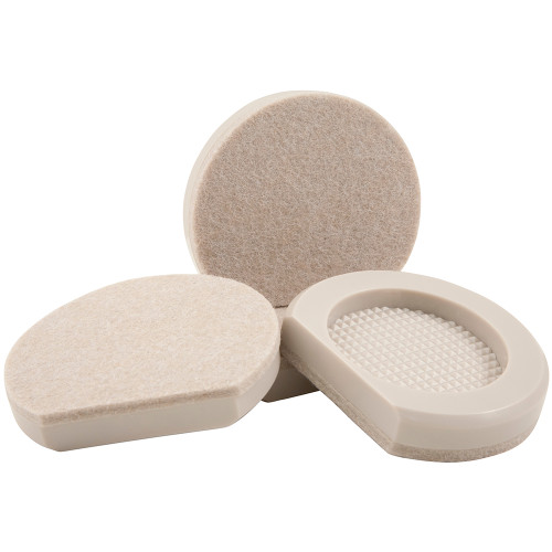 """3"""" Round Cupped Appliance Sliders, Beige (4 Pack)"""