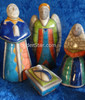 Raku nativity Holy Family with angel