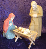 Carved wood Swiss nativity