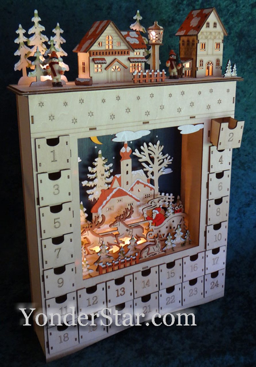 Lighted Wooden Advent Calendar Pre Order 2019 Yonder Star
