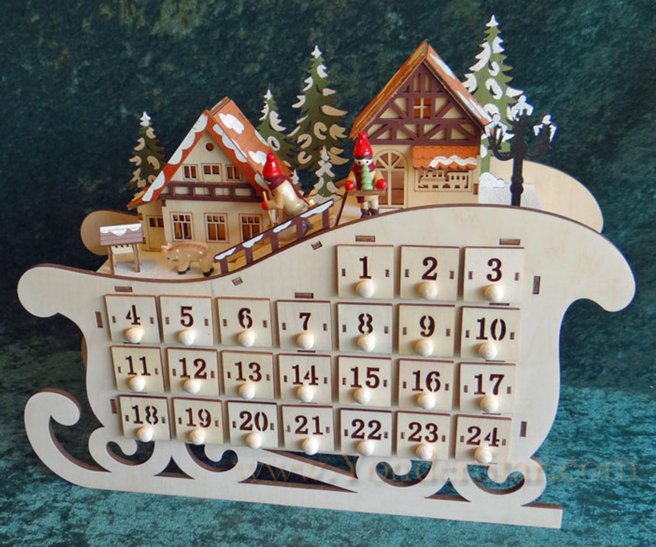 Lighted Wooden Advent Calendar Sleigh Ride Yonder Star Christmas