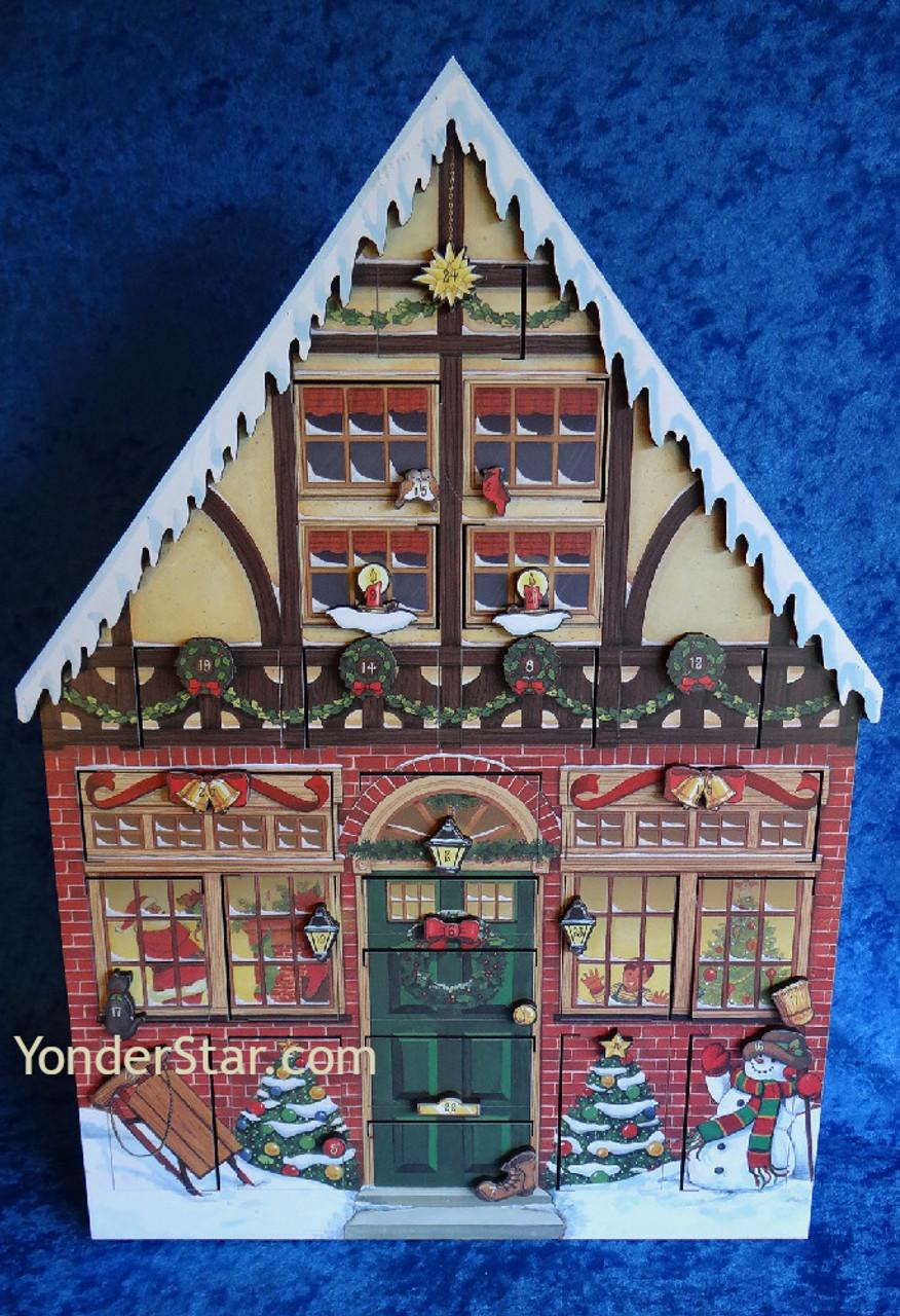 wooden house advent calendar