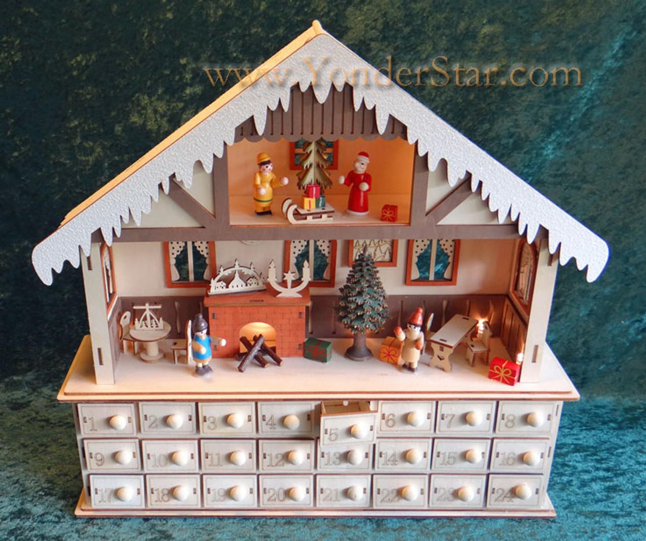 Lighted Wooden Advent Calendar Winter Chalet Advent Calendar