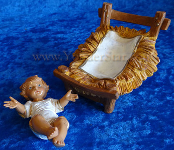 "Baby Jesus w Crib - 12"" Fontanini Nativity Infant Jesus 72913"