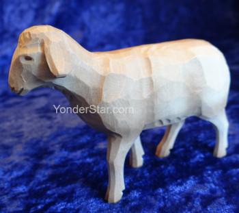 White Sheep Walking - Huggler Nativity Woodcarving  - 14cm Scale