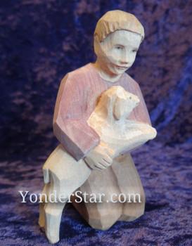 Boy with sheep Huggler nativity.