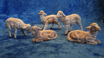 "Sheep - White Sheep Set - 5"" Fontanini Nativity Animals Set of 5 -  72539"