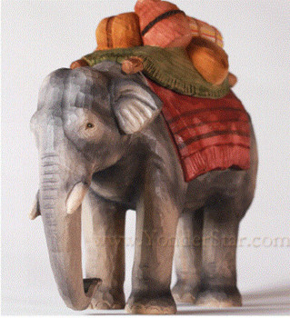 Huggler carved wood elephant