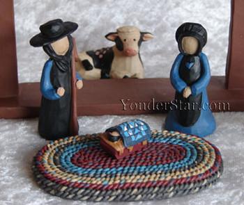 Amish community nativity set