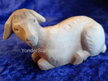 White Sheep Lying- Huggler Nativity Woodcarving