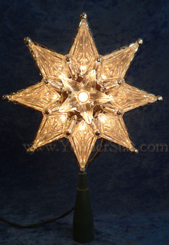 "8"" Clear 8-Point  Lighted Star Tree Topper"