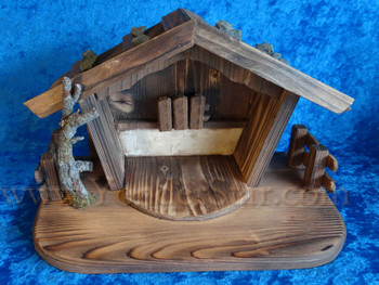 "11"" Wooden Stable LEPI Reindl Wooden Nativity"
