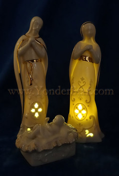 Porcelain lighted nativity Lenox