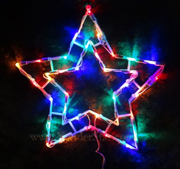 """15"""" Outdoor Lighted Star Multi Colored LED Lights"""