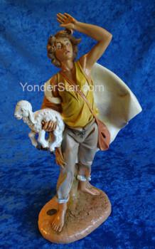 """Micah - 12"""" Fontanini Nativity Shepherd w Lamb 52958"""
