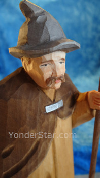 Shepherd with Lantern, Hat & Staff - Huggler Nativity Woodcarving