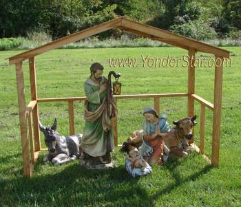 wooden manger outside nativity scene
