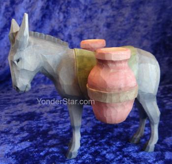 Donkey w Amphoras - Huggler Nativity Woodcarving Switzerland
