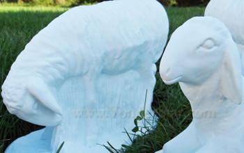 Outdoor Nativity Set of Three Sheep White